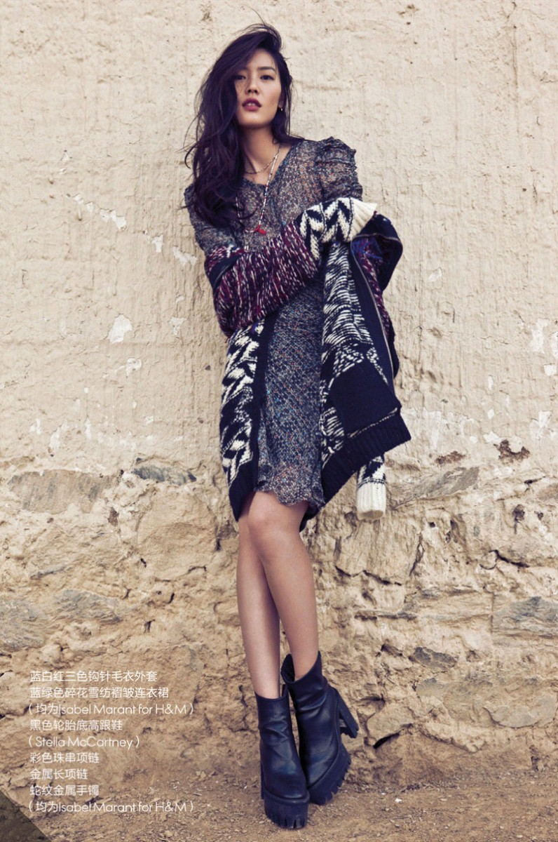 liu wen location3 796x1200 Liu Wen Stars in the December 2013 Cover Shoot from Elle China