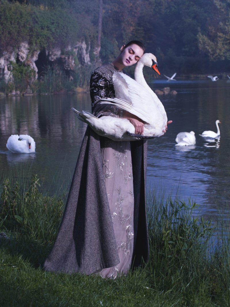 magda laguinge model1 Magda Laguinge Enchants in Couture for Jumbo Tsui in Harpers Bazaar China