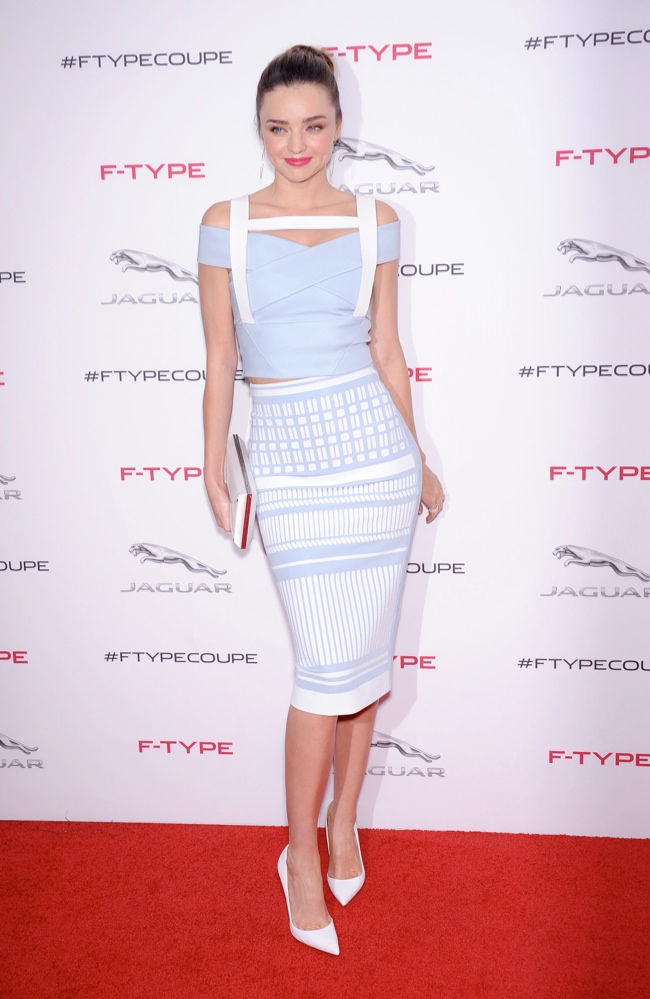 miranda david koma dress1 Miranda Kerr Wears Form Fitting David Koma Dress at Jaguar Event