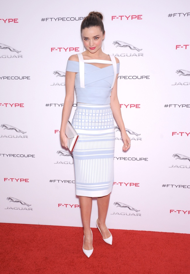 miranda david koma dress2 Miranda Kerr Wears Form Fitting David Koma Dress at Jaguar Event