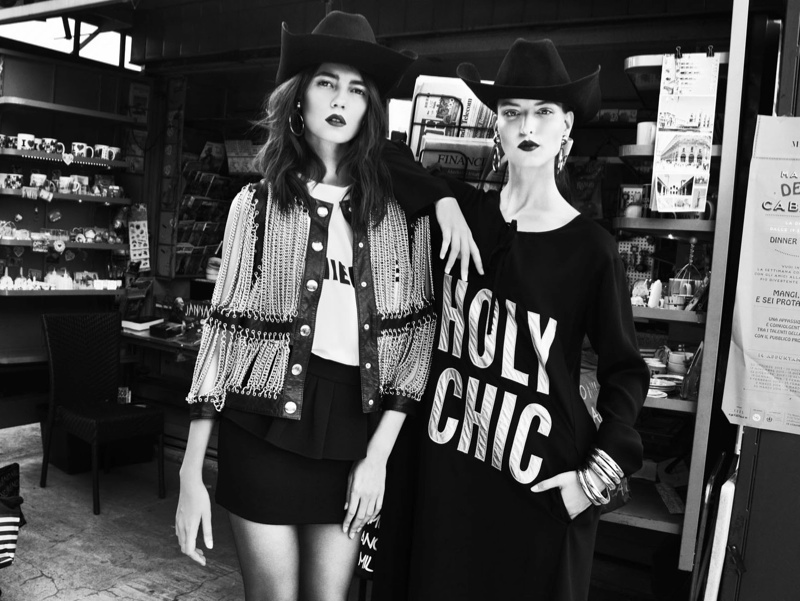 moschino bazaar2 Dasha & Eva Sport Moschino in Harpers Bazaar Russia by Nikolay Biryukov