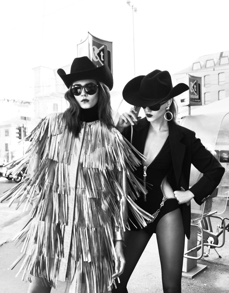 Dasha & Eva Sport Moschino in Harper's Bazaar Russia by Nikolay Biryukov