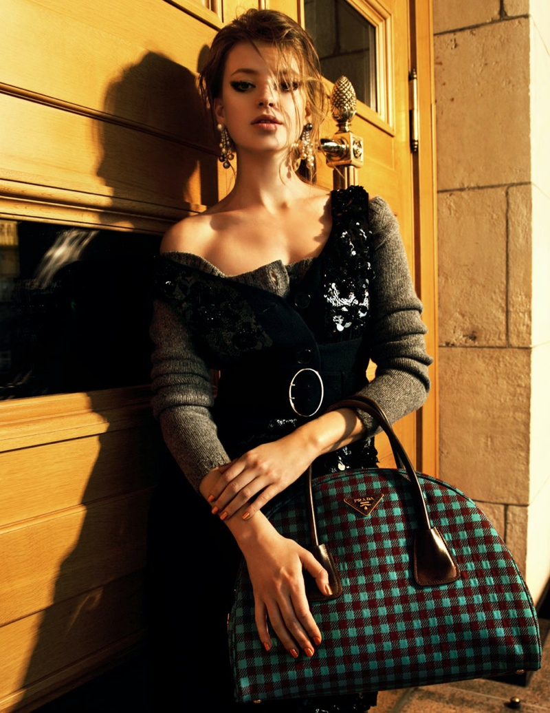 prada russia2 Anastasia Kuznetsova Wears Prada for Elle Russia by Nikolay Biryukov