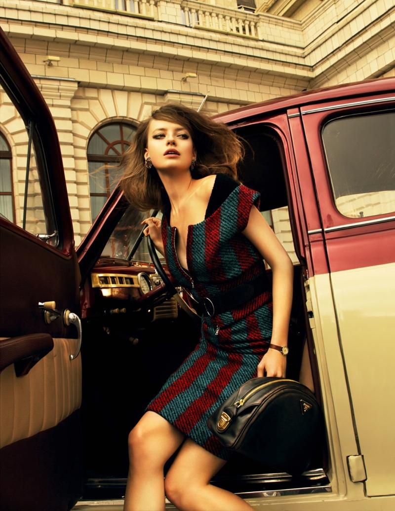 prada russia3 Anastasia Kuznetsova Wears Prada for Elle Russia by Nikolay Biryukov