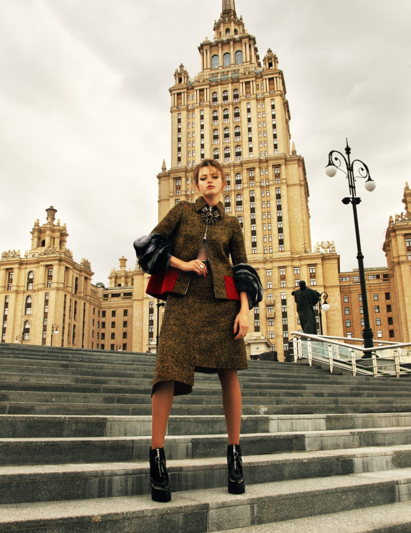 prada russia7 Anastasia Kuznetsova Wears Prada for Elle Russia by Nikolay Biryukov