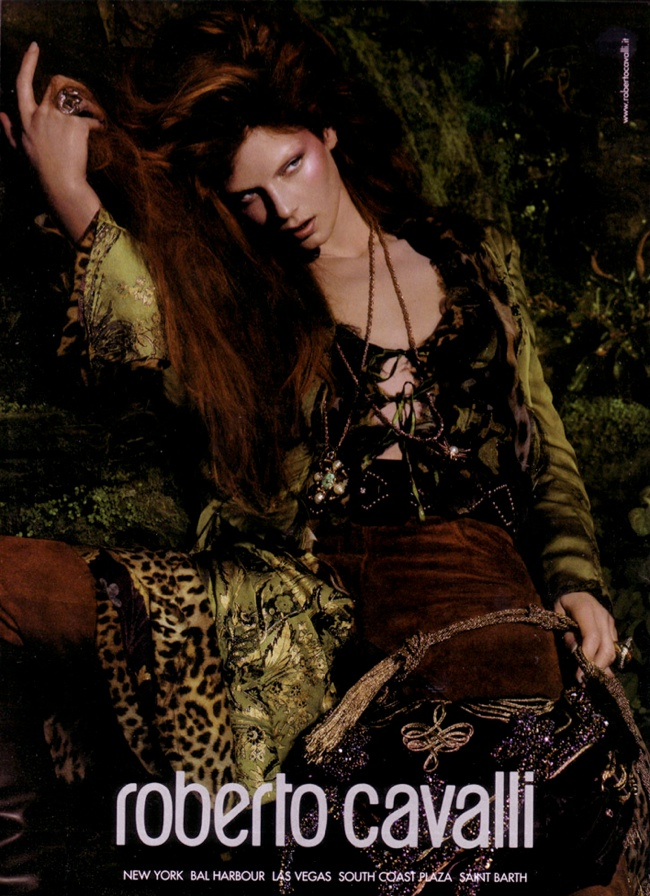 roberto cavalli fall 2004 ads2 Throwback Thursday | Angela Lindvall for Roberto Cavalli Fall 2004 Campaign