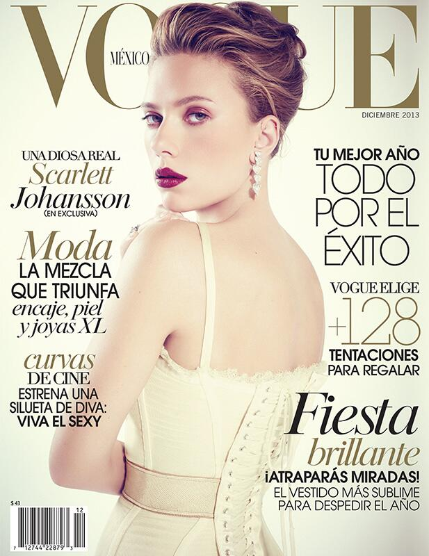 scarlett johansson vogue cover Scarlett Johansson Wears Corset on Vogue Mexico December 2013 Cover