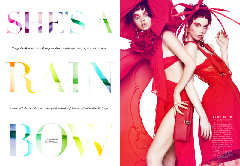 shes a rainbow1 Simon Lekias Captures Rainbow Fashion for Harpers Bazaar Australia