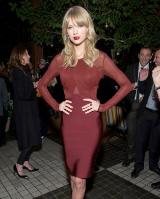 taylor red dress1 326x406 Dolce & Gabbana Sicilian Jewels Makeup Line for the Party Season