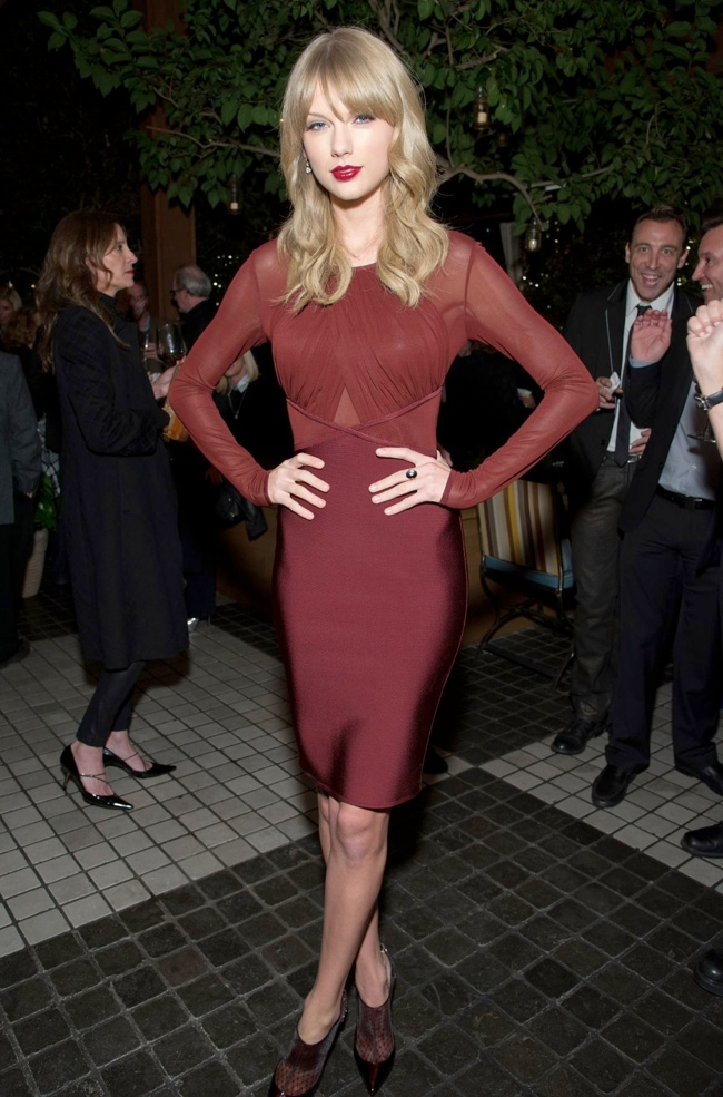 taylor red dress1 Taylor Swift Wows in Hervé L. Leroux Dress at Weinstein Companys Holiday Party