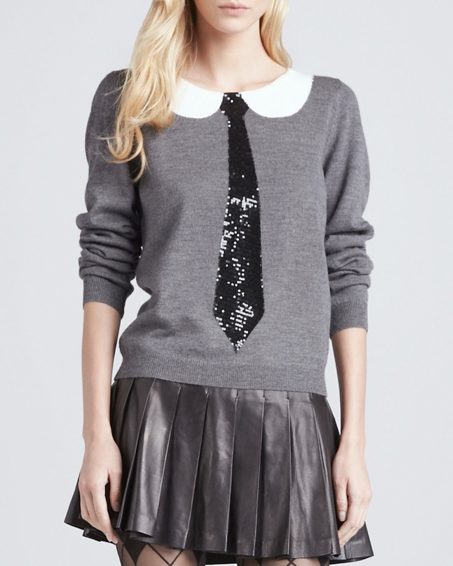 tie sweater alice olivia 10 Christmas Sweaters to Wear This Holiday Season!