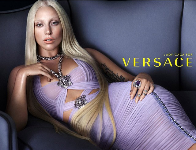 Lady Gaga poses in Versace spring-summer 2014 ad / Image courtesy of mertalas Instagram