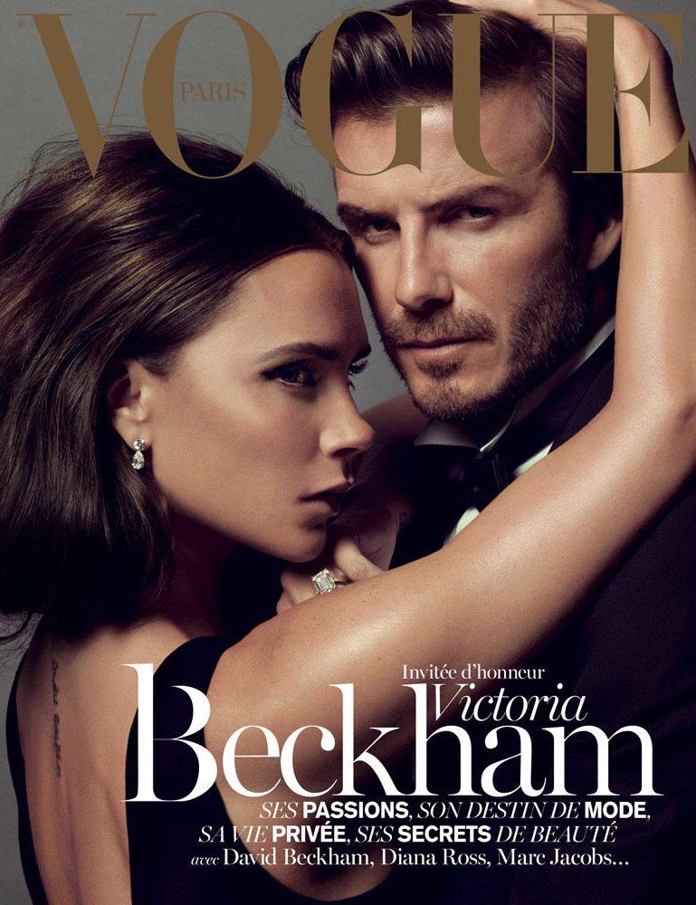 Victoria Beckham on December/January 2013.2014 cover of Vogue Paris with Husband David Beckham