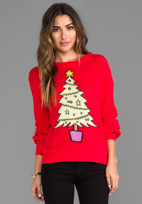 wildfox christmas tree sweater 10 Christmas Sweaters to Wear This Holiday Season!