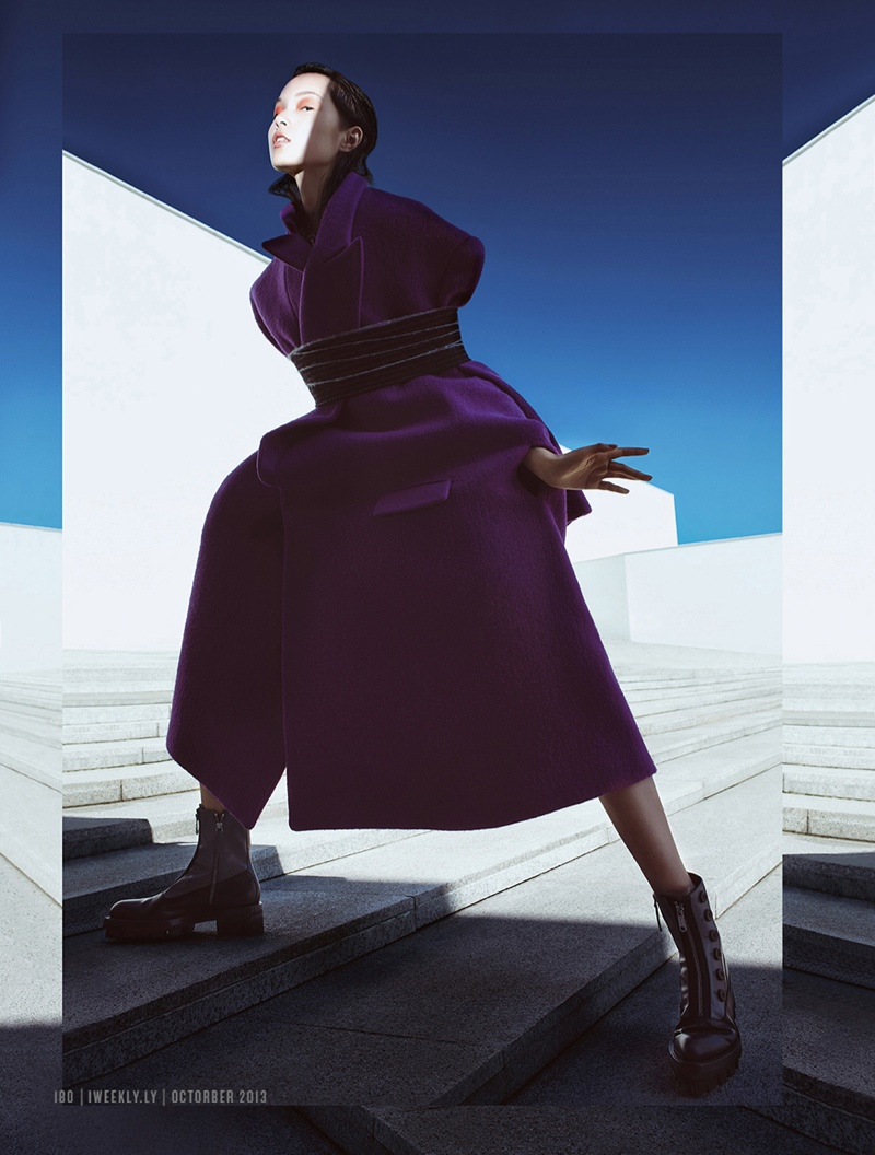 xiao wen ju model1 Xiao Wen Ju Gets Futuristic for Charles Guo in Modern Weekly Spread