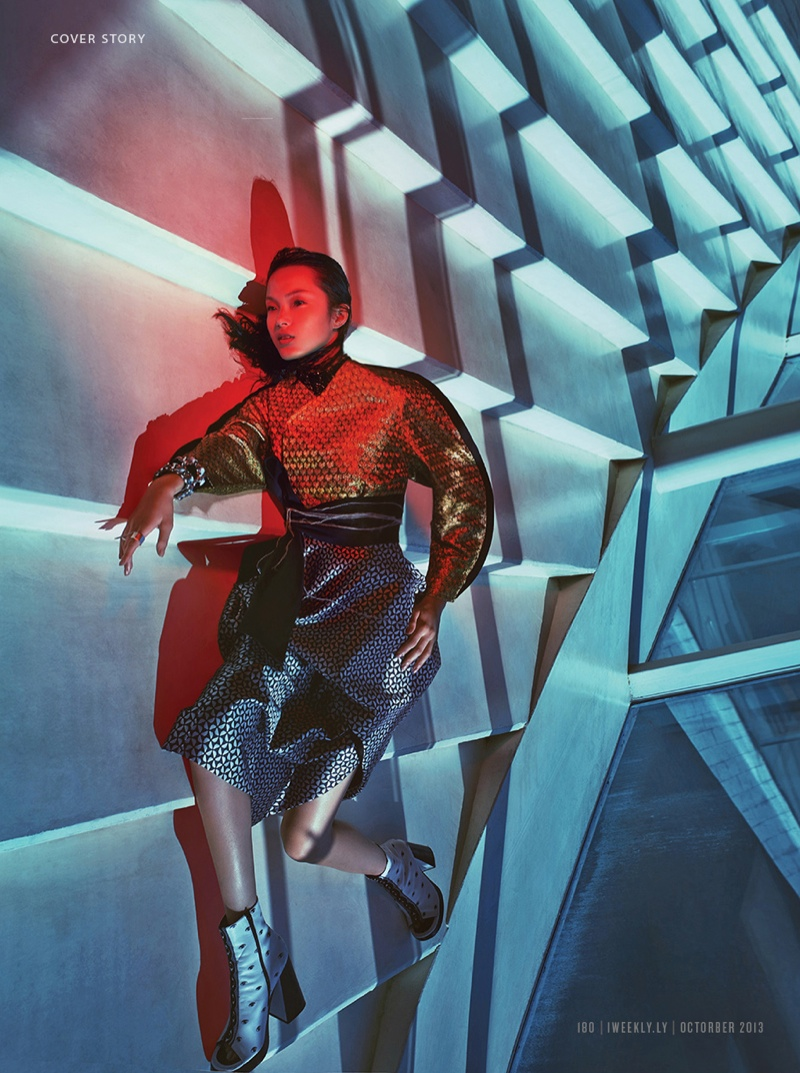 xiao wen ju model3 Xiao Wen Ju Gets Futuristic for Charles Guo in Modern Weekly Spread