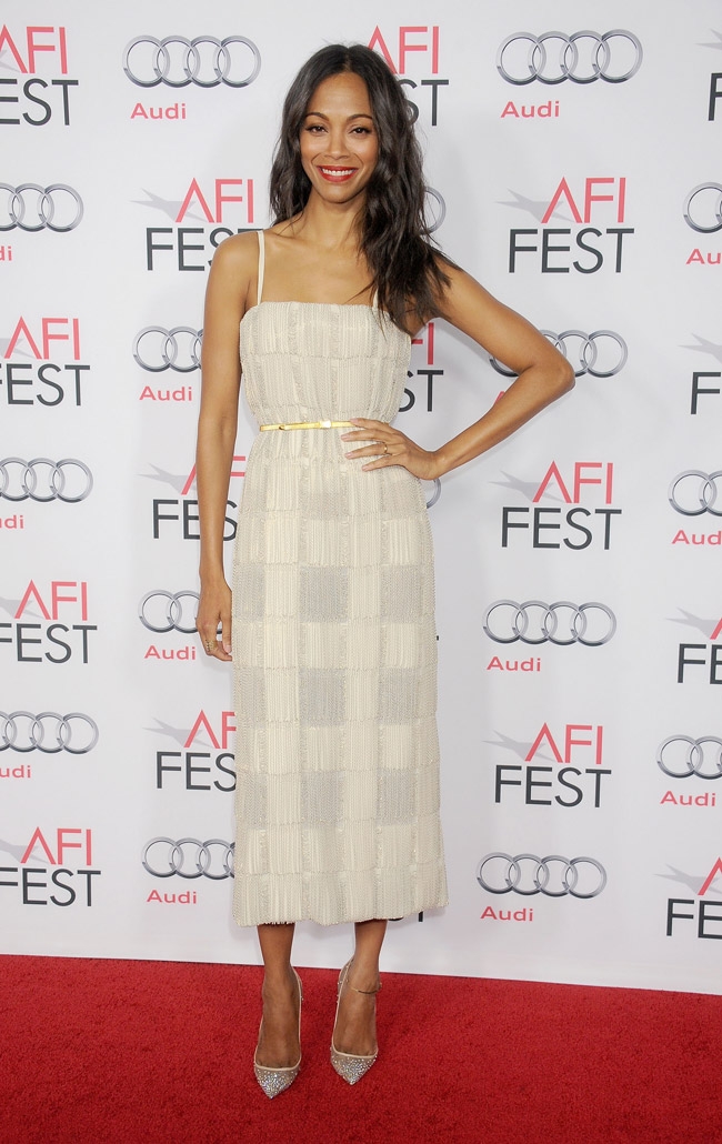 zoe saldana calvin klein dress Zoe Saldana Wears Calvin Klein Collection at Out of the Furnace Premiere