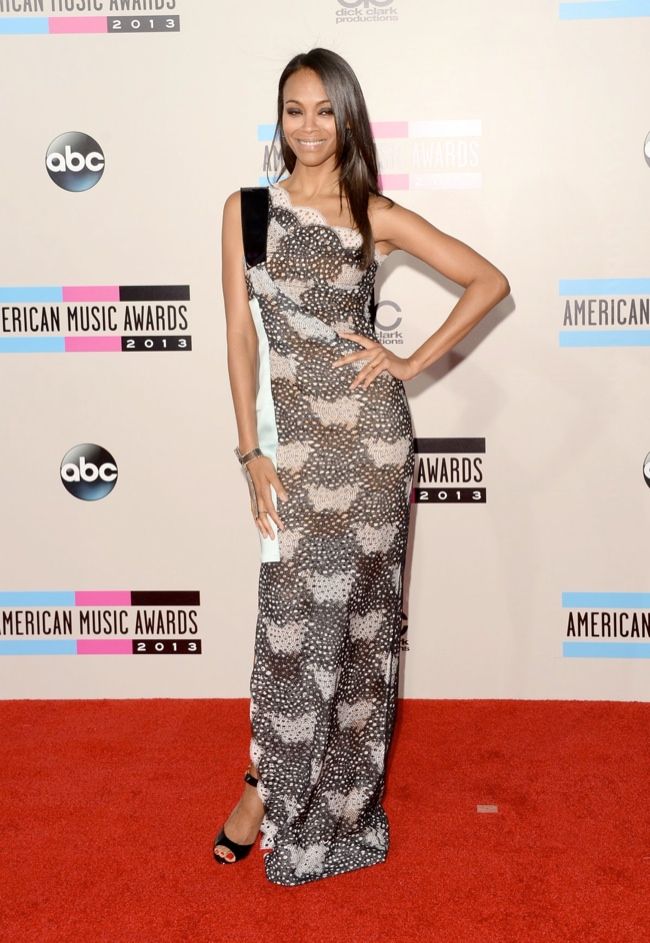 zoe saldana roland mouret Taylor Swift, Katy Perry, Miley Cyrus + More Star Style at the 2013 AMAs