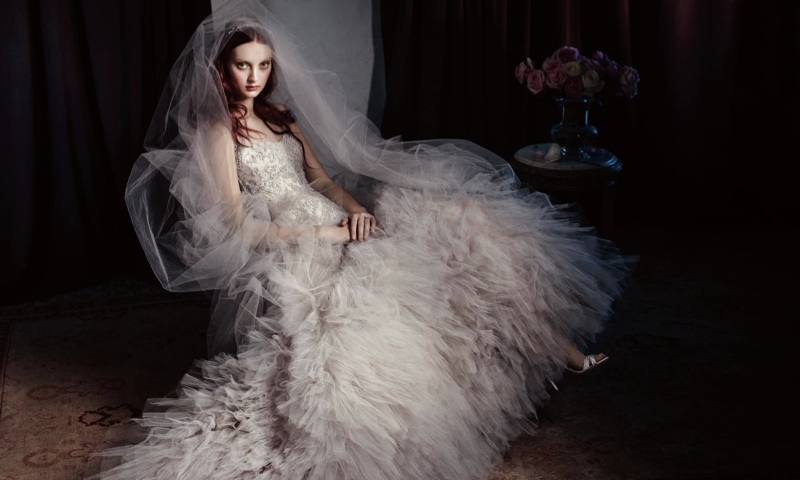 Monique Lhuillier Bridal 2014 4 Codie Young Wows in Monique Lhuillier Bridal 2014 Campaign