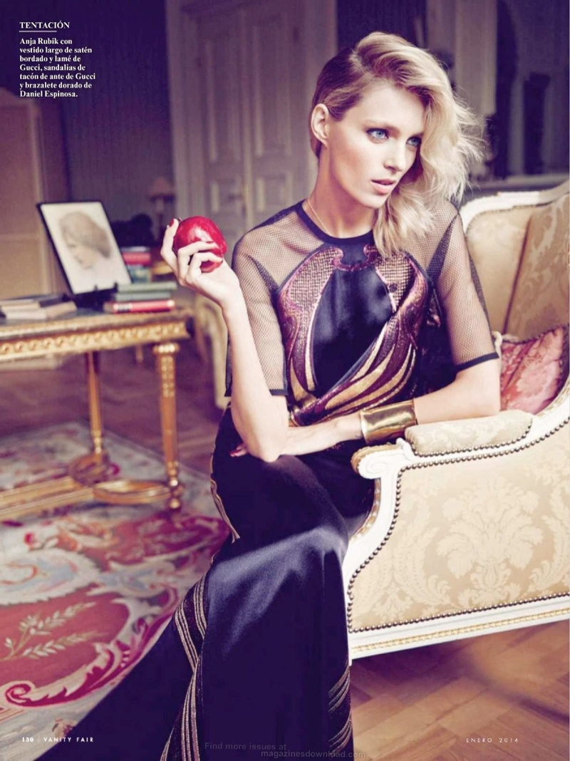 anja rubik 2014 6 Anja Rubik Gets Glam for January Issue of Vanity Fair Spain