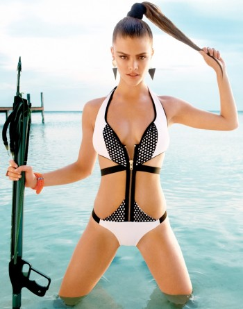 Nina Agdal Models Beach Bunny Swimwear Spring 2014 Collection