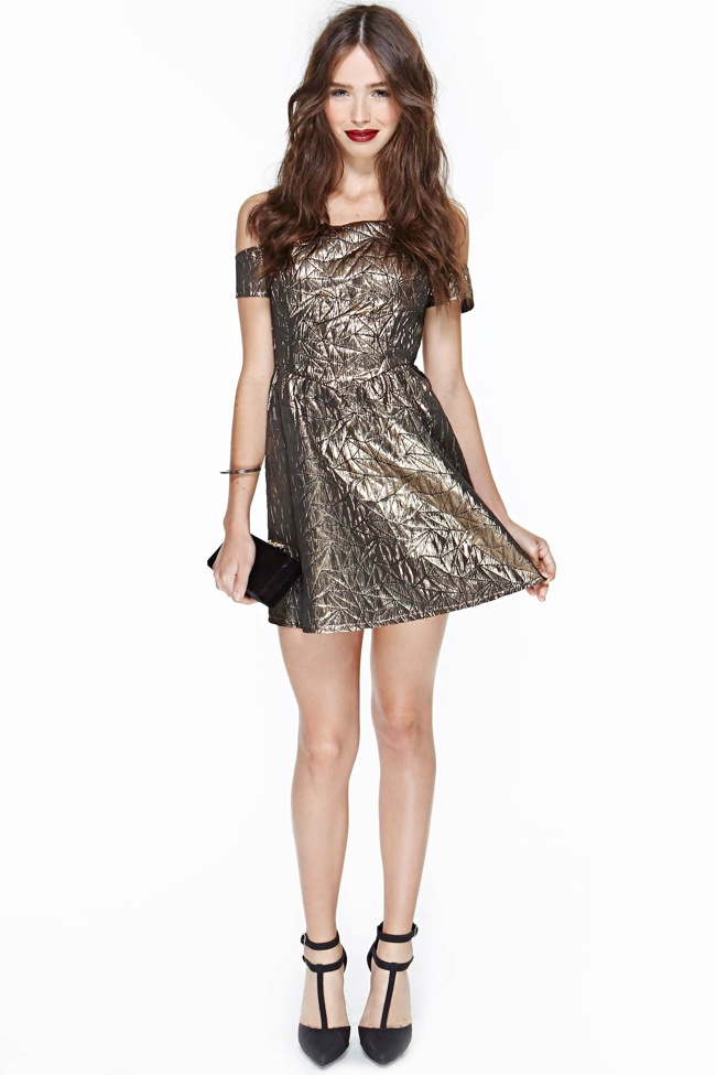 brocade nasty gal dress 7 Metallic Dresses for New Years Eve