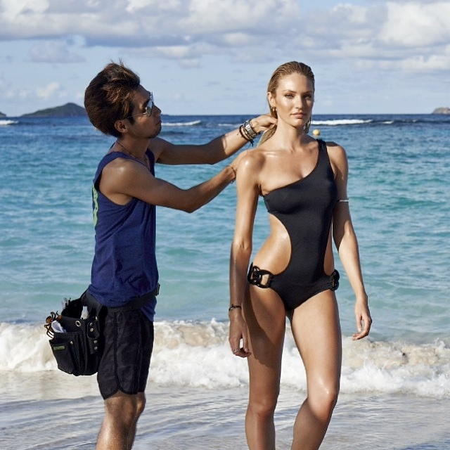 candice vs instagram1 Candice Swanepoel, Magdalena Frackowiak & Doutzen Kroes BTS at VS Swim 2014 Shoot