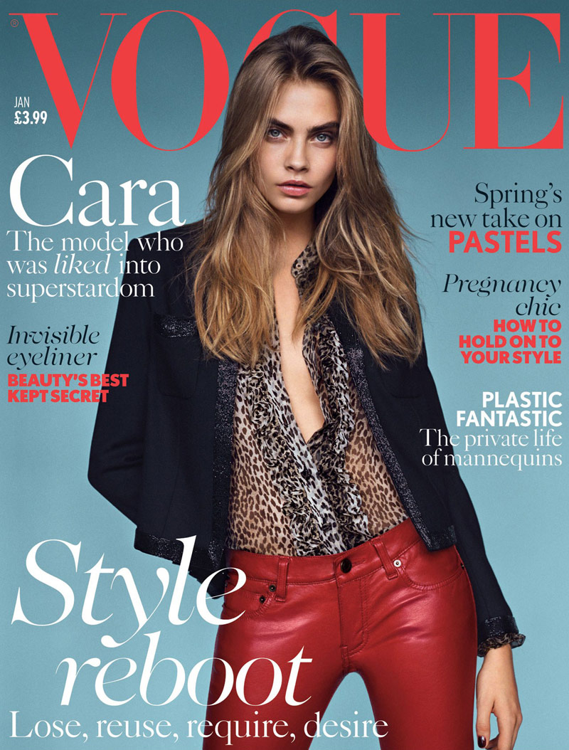 cara delevingne saint laurent cover Cara Delevingne Lands Vogue UK January 2014 Cover in Saint Laurent