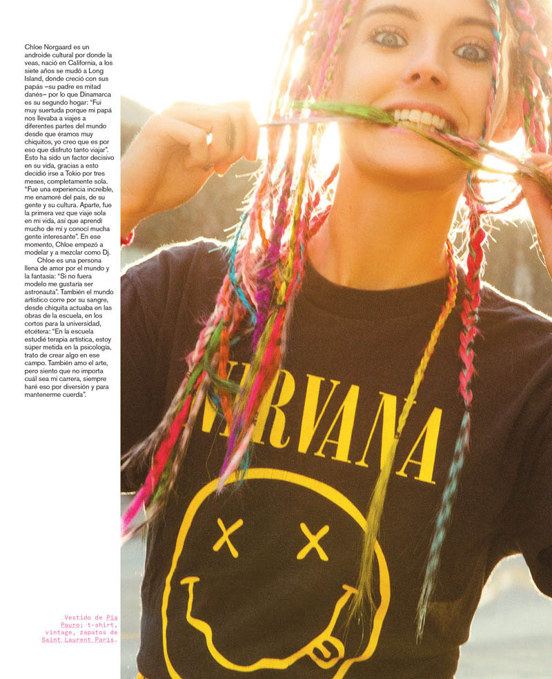 Chloe Norgaard Rocks Colorful Braids for Nylon Mexico by Andrew Kuykendall