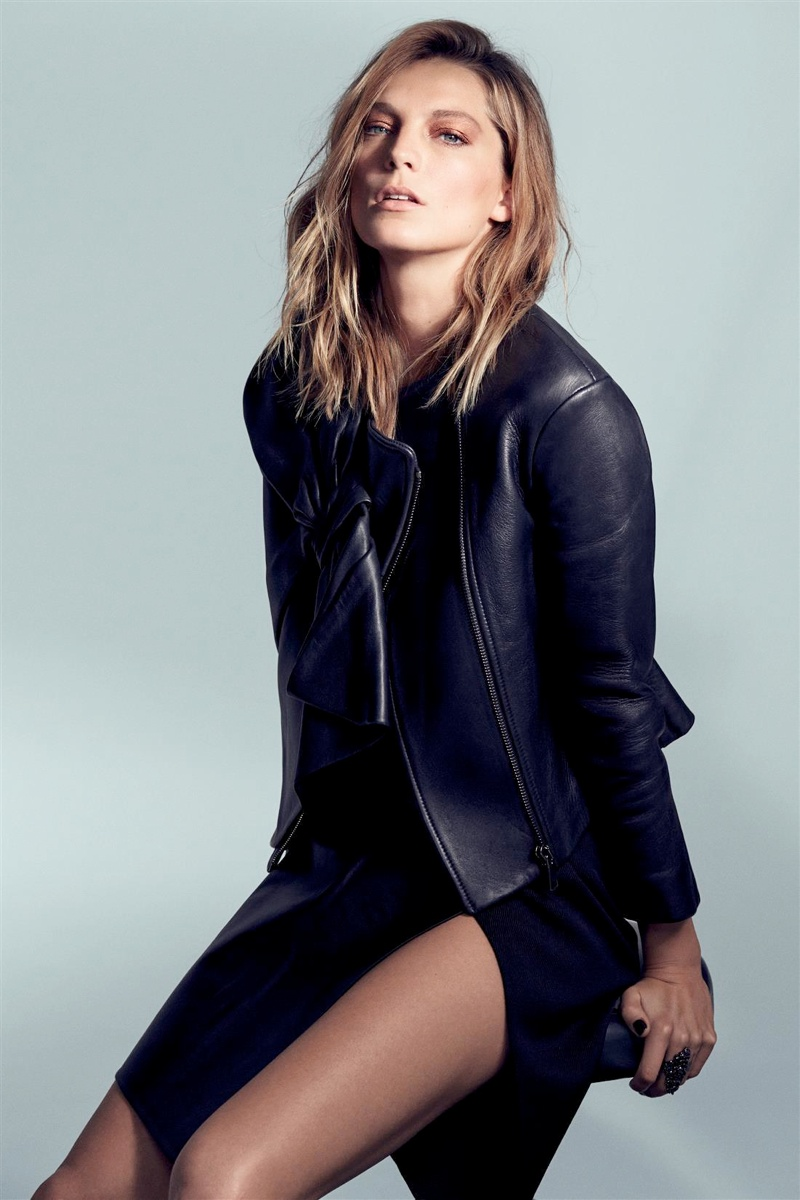 Daria Werbowy Models Leather Fashions for Cass Bird in L'Express Styles