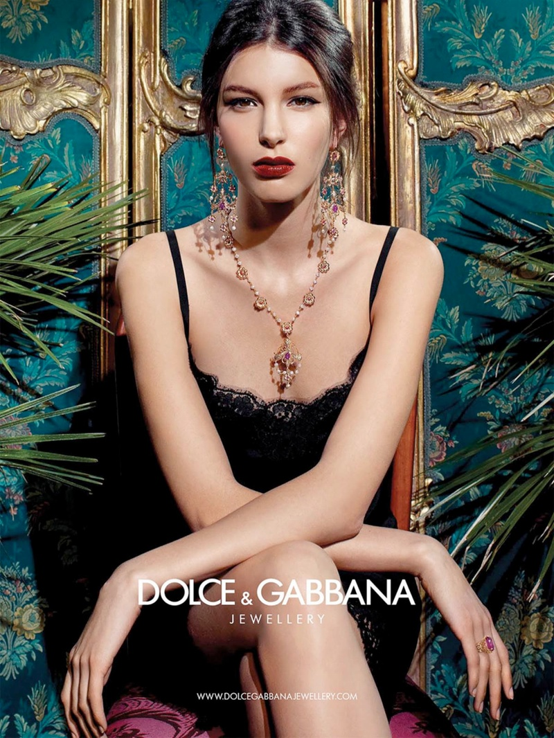 dolce gabbana baroque jewelry 1 Kate King Stars in Dolce & Gabbana Baroque Jewelry 2013 Campaign