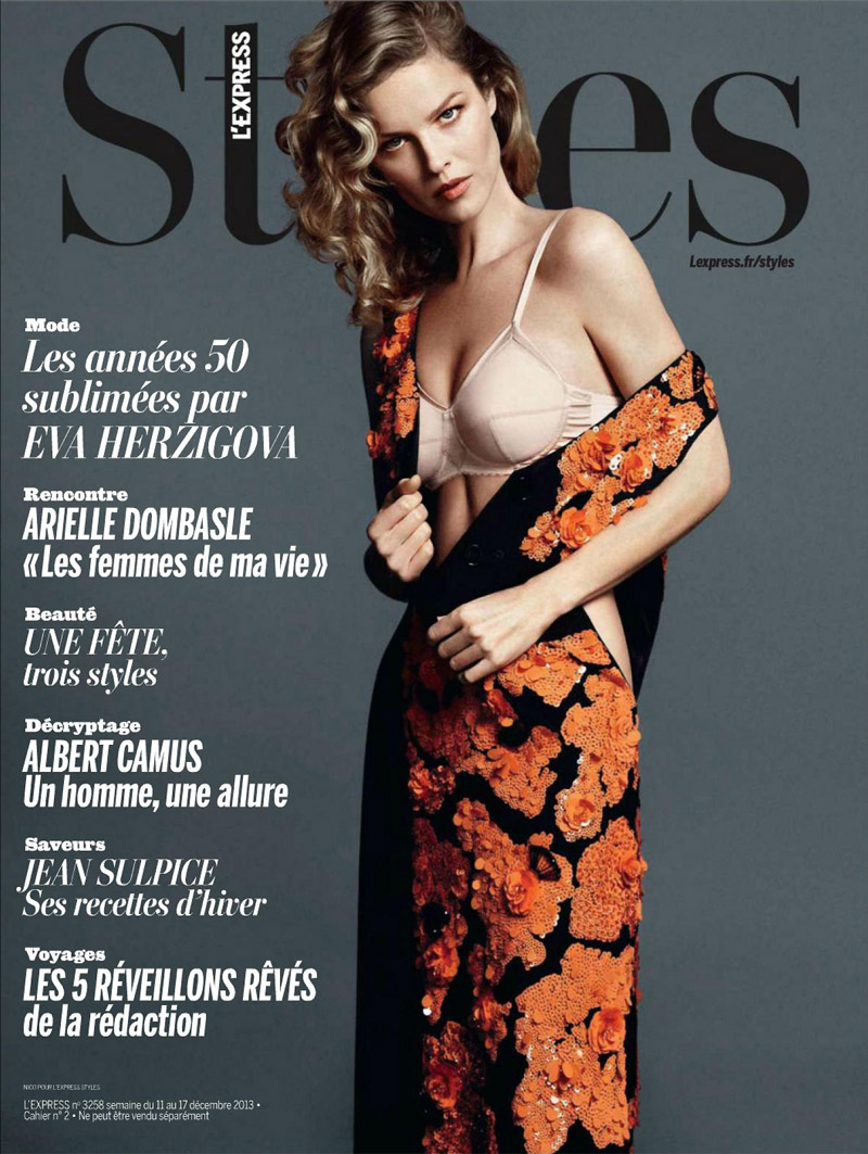 eva cover style Eva Herzigova is Ladylike Glam for LExpress Styles by Nico