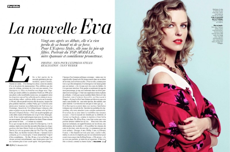 eva herzigova model1 800x530 Eva Herzigova is Ladylike Glam for LExpress Styles by Nico