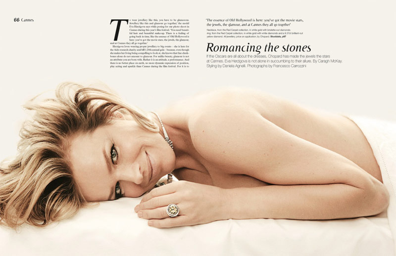 eva jewelry2 Eva Herzigova Shines for The Sunday Telegraph by Francesco Carrozzini