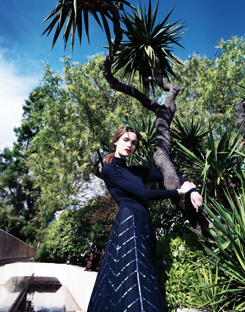 Fia Ljungstrom is Ladylike in Dior for Elle China by Stockton Johnson