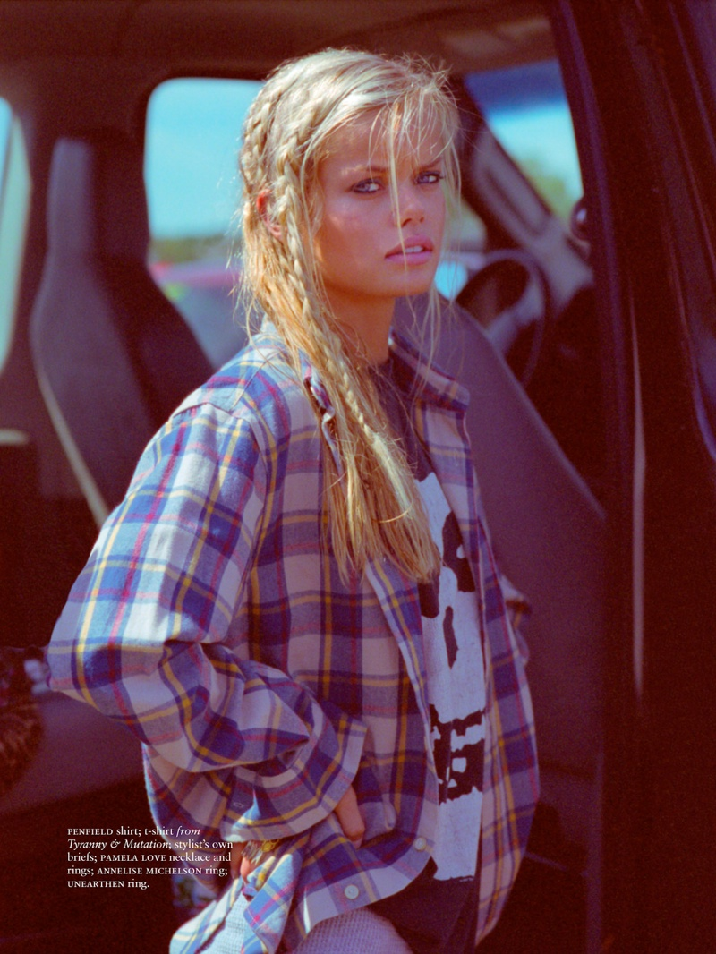 Frida Aasen Keeps it Casual for Russh Shoot by Hugh Lippe
