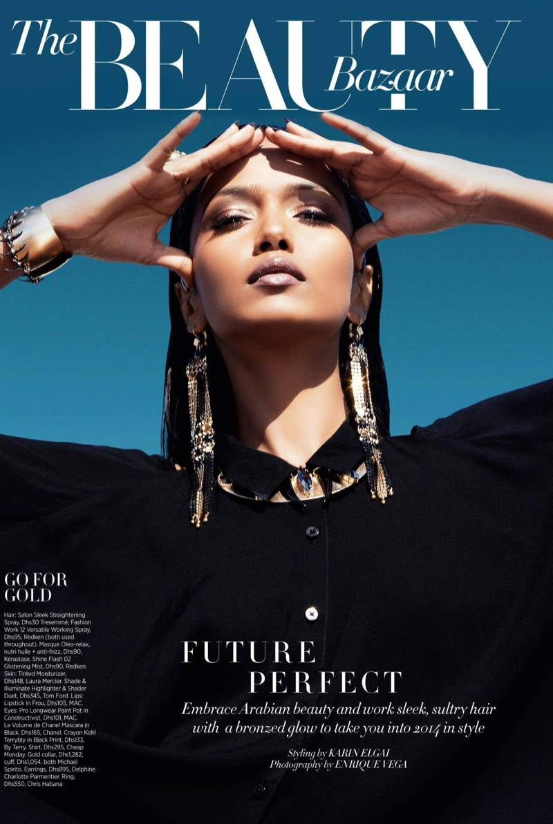 futuristic beauty1 Garima Parnami Shines for Enrique Vega in Harpers Bazaar Arabia