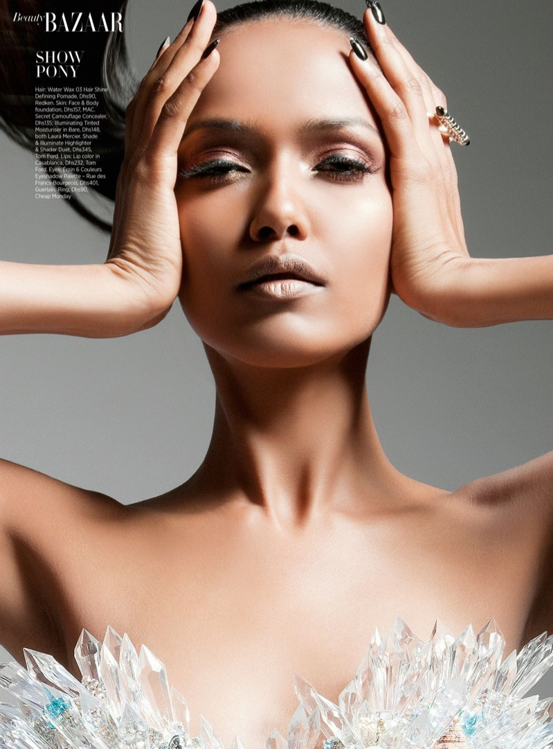 futuristic beauty2 Garima Parnami Shines for Enrique Vega in Harpers Bazaar Arabia