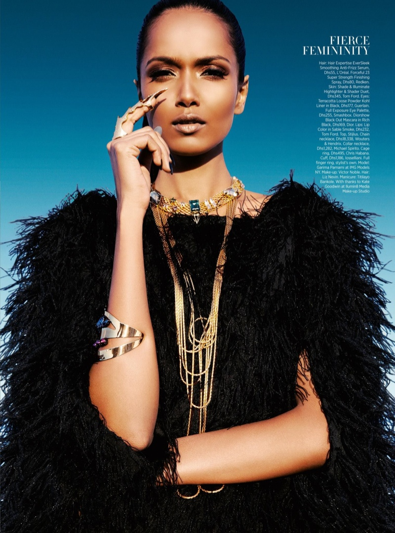 futuristic beauty3 Garima Parnami Shines for Enrique Vega in Harpers Bazaar Arabia