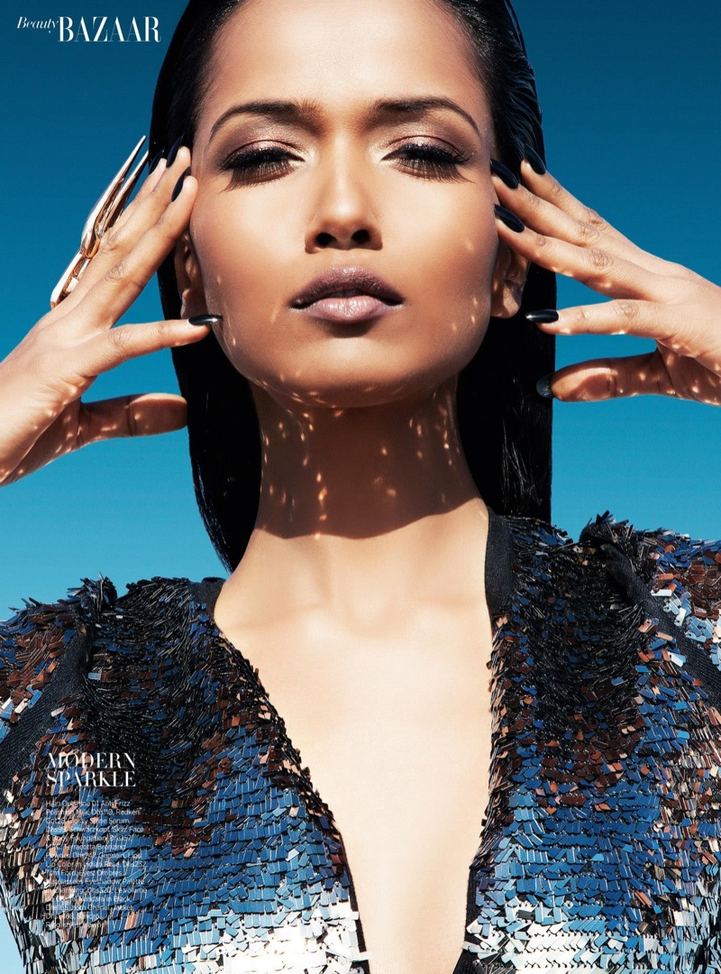 futuristic beauty4 Garima Parnami Shines for Enrique Vega in Harpers Bazaar Arabia