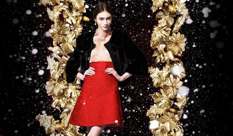 Marine Deleeuw + Ji Hye Park Dress in Holiday Looks for Dolce & Gabbana