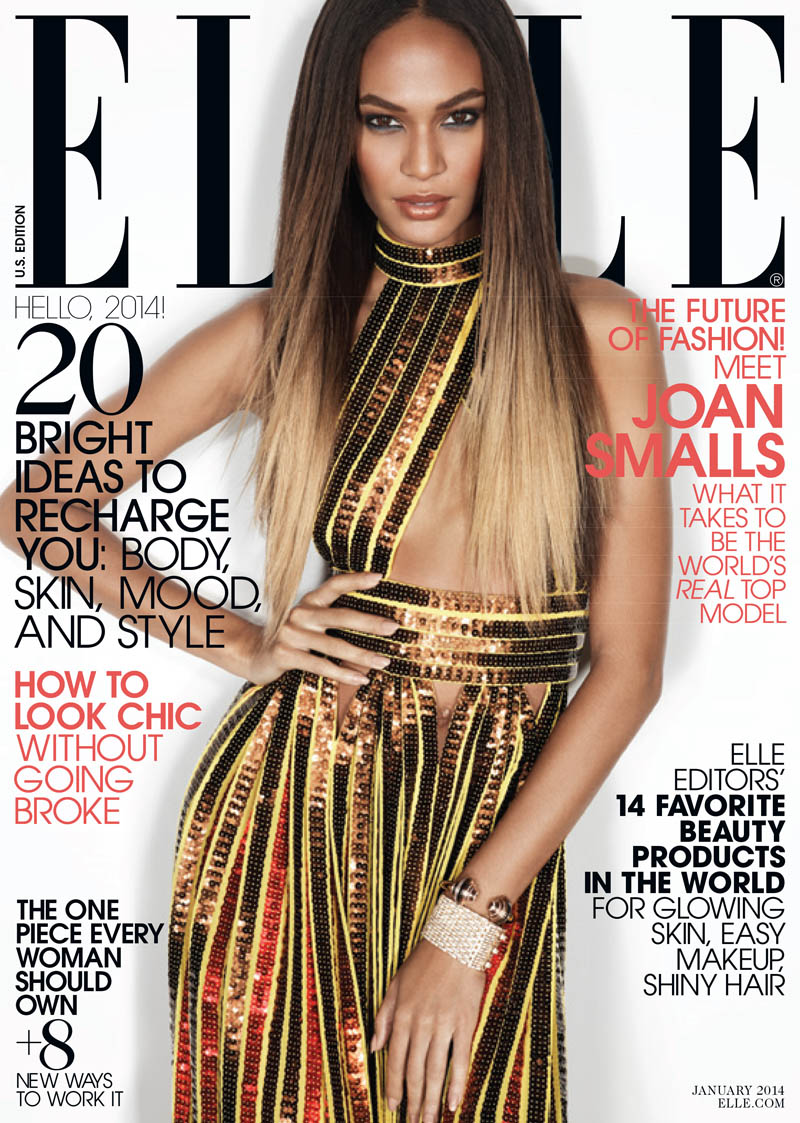 joan smalls elle us1 Joan Smalls Covers ELLE January 2014, Talks About Lack of Diversity