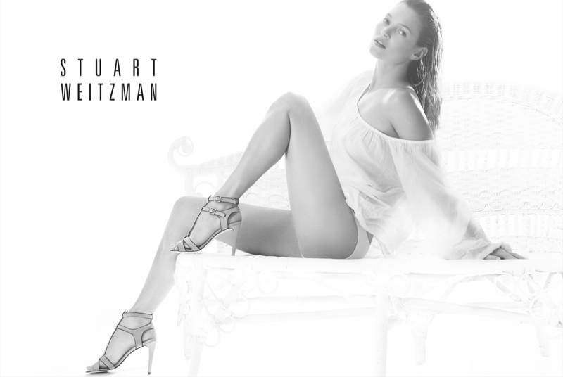 kate moss stuart weitzman1 Kate Moss Plays Pin up in Stuart Weitzmans Spring 2014 Ads