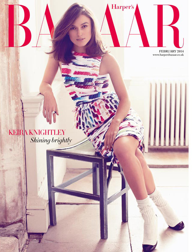 keira bazaar cover1 Keira Knightley Covers Harpers Bazaar UK, Talks Feminism & Twitter