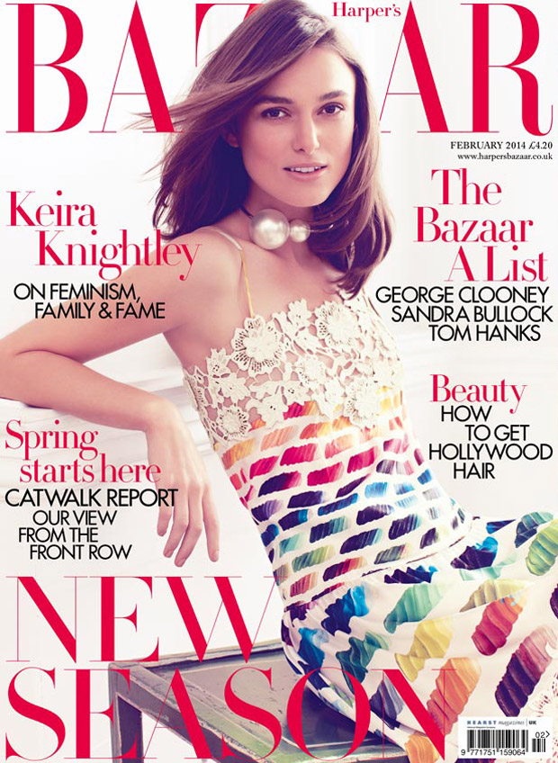 keira bazaar cover2 Keira Knightley Covers Harpers Bazaar UK, Talks Feminism & Twitter