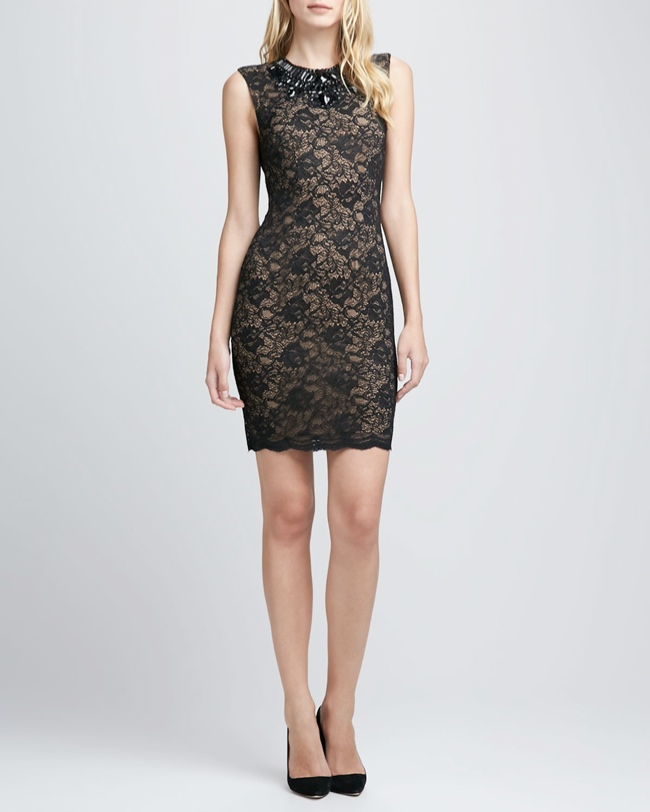 lace bejweled neckline 6 Party Dresses for Holiday Events