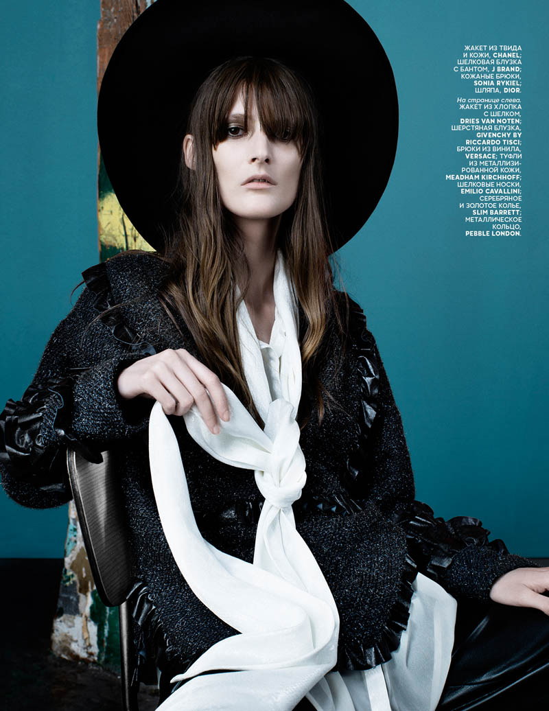 marie piovesan model2 Marie Piovesan is Rock Glam for Vogue Russia by Catherine Servel