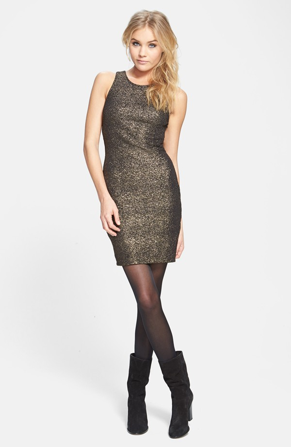 metallic body con dress 7 Metallic Dresses for New Years Eve