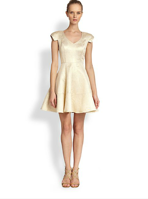 metallic jacquard flare dress 7 Metallic Dresses for New Years Eve