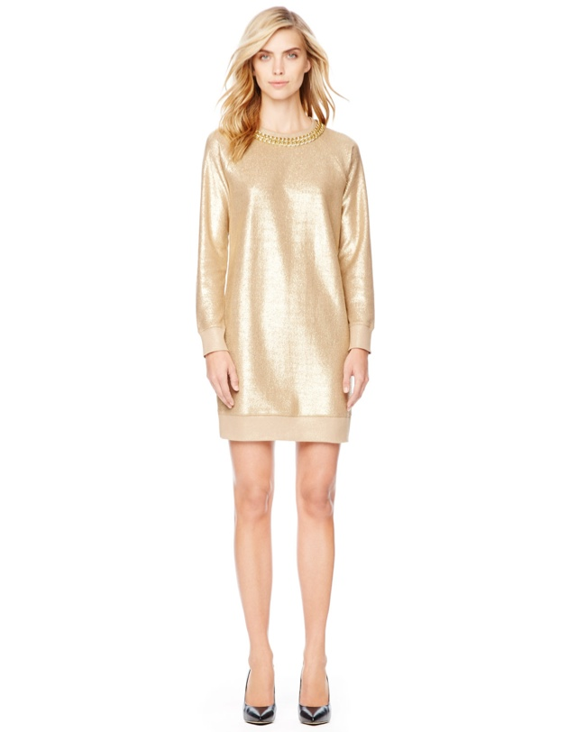 michael kors chain neckline 7 Metallic Dresses for New Years Eve